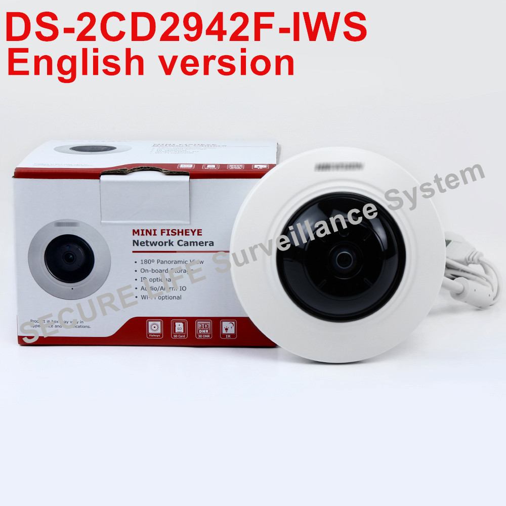 In stock Free shipping English version DS-2CD2942F-IWS 4MP wifi Fisheye Network ip security Camera with Fisheye & PTZ view free shipping in stock new arrival english version ds 2cd2142fwd iws 4mp wdr fixed dome with wifi network camera