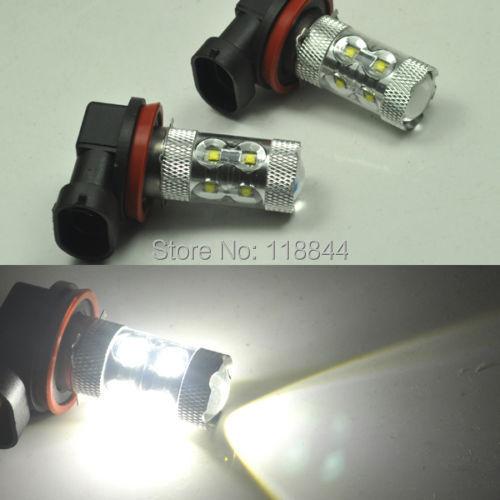 2Pcs 50W Bright White Xenon Hid H8 H9 H11 10 CREE LED Fog Daytime Light Lamp bulb HeadLight Kit DRL 6000K  DC 12V Free Shipping