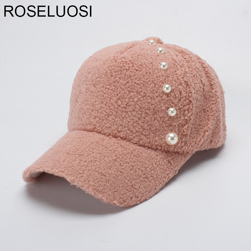 ROSELUOSI Women Winter Baseball Cap Thick Warm Fleece Snapback Hat Fashion Pearl Solid Color Hats Female Gorras Casequette fashion letter hats gorros bonnets winter cap women men skullies beanie female hiphop knitted hat toucas