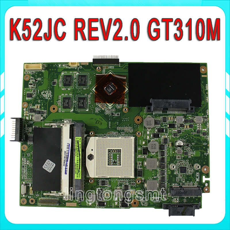 For ASUS K52JC Laptop Motherboard Mainboard k52jr k52j a52j K52jc A52J K52JT 1GB 8 memory DDR3 REV2.0 100% tested  for asus k52jb a52j k52jr k52je k52j 4 pcs on storage laptop motherboard rev2 3 mainboard free shipping