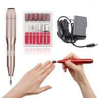 Portable Pen Shape Electric Aluminum Alloy Nail Drill Machines Speed Adjustable Nails Manicure Pedicure Machine Us/eu Power Plug