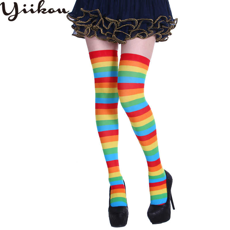 0c200eb97 Female Halloween Christmas Party Long Stockings Women Silk Stripes Over the  Knees Stockings Girls Multicolored Stocking