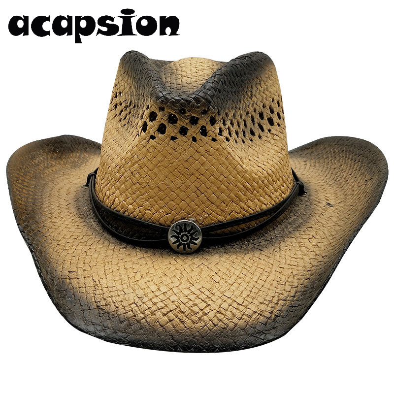 Western Cowboy Hats Men Women Summer Straw Cowgirl Party Costume Crimping Western Hat Sombrero Hombre Cowboy Hats For Men A059