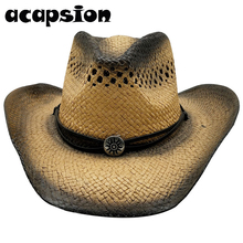 Western Cowboy Hats Men Women Summer Straw Cowgirl Party Costume Crimping Hat Sombrero Hombre For A059