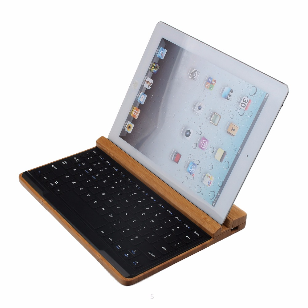2016 Fashion Bamboo Bluetooth keyboard for 9.7 Ipad air Tablet PC for Ipad 5 4 3 2 keyboard wireless pager service calling system for restaurant salon beauty table 40pcs electronic table bells