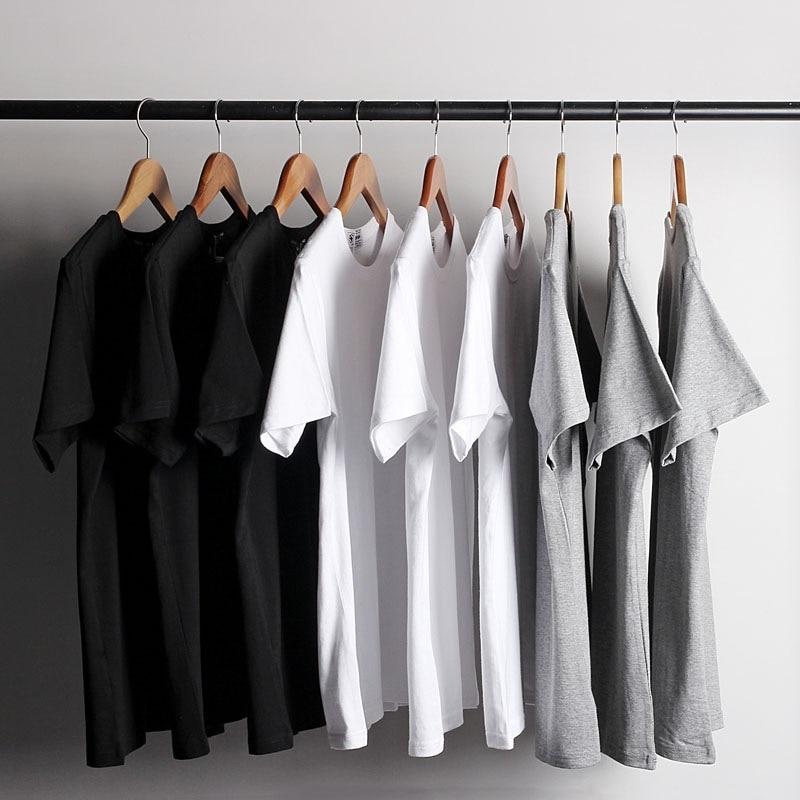 Black Grey White 100% Cotton T Shirt New Fashion Men's Solid Color T-Shirts O Neck Classical Men TShirt