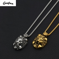 2017 New Hip Hop Goofan Lion Head Pendant Necklace Stainless Steel Fashion Jewelry For Men Women