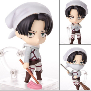 NEW hot 10cm Attack on Titan Levi Rivaille Rival Ackerman mobile cleaner Action figure toys doll collection Christmas gift(China)