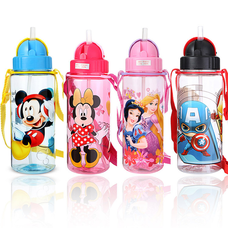 510ML Baby Kids Straw Cup Automatic Button Cartoon School Water Cups Cute Kettle Shaker Sport Drink Bottle Bouteille Gourde Cups