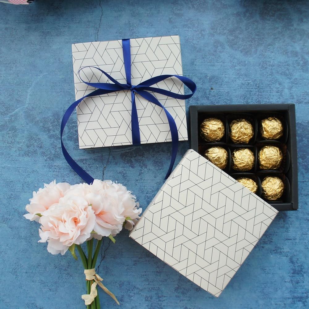 13.1*13.1*3.5cm Honeycomb Line Theme 10 Set Chocolate Paper Box Valentine Christmas Birthday Gifts Packing Storage Boxes