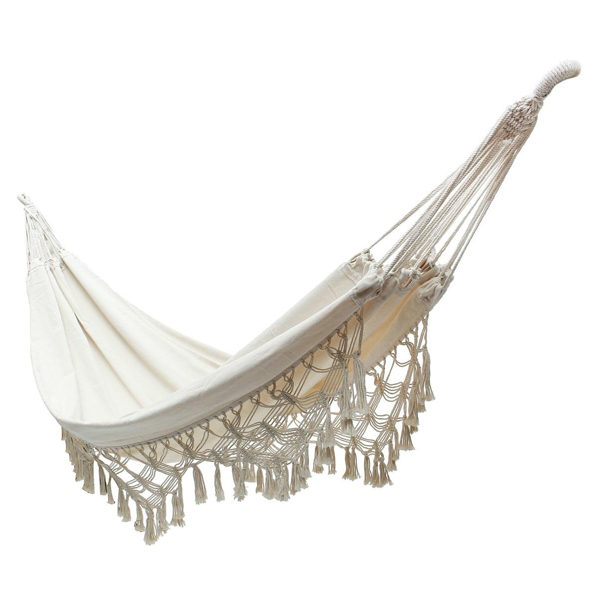 Nouveau Blanc 240x150 cm Suspendus Coton Corde Macrame Hamac Chaises Swing Extérieurs pour La Maison Jardin En Plein Air Loisirs Suspendu Lit hamac