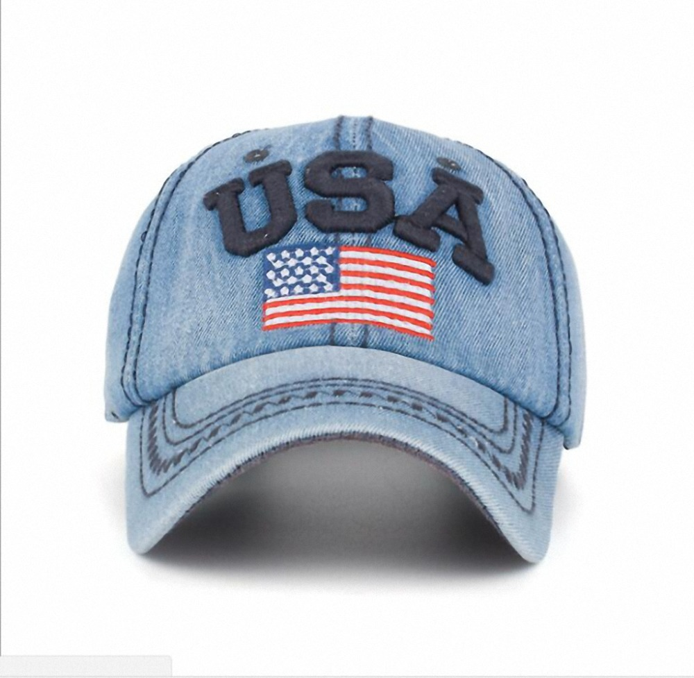 Fashion Classic Vintage Golf USA Flag Jean Cap Driving Flat Cabbie Newsboy Ivy Beret Washing Denim Hat Peaked Sun Cap