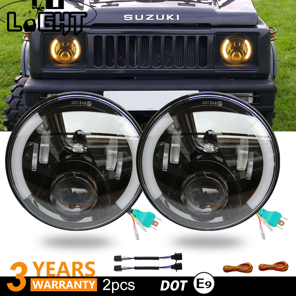 COLIGHT Led Headlight 7 inch 80W Hi/Low Led 12V Angel Eye DRL Auto External Lights for OffRoad 4x4 Jeep Wrangler Jk Tj Lada Niva 7 inch round led headlight angel eye high low beam drl auto for offroad jeep wrangler niva lada 4x4 uaz 12v 24v dyna 883