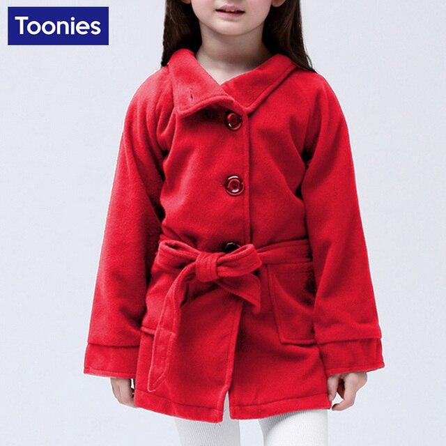 2016 Зимняя Куртка для Девочек Однобортный Шерстяное Пальто Дизайн Одежды Мех Пальто Толстые Теплые Детей И Пиджаки Пальто 3 Цвета