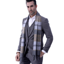 Promotion of a new checked mens scarf tassels with thicker thermal neck