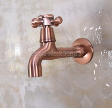 цена на Antique Red Copper Washing Machine Faucet Bathroom Mop Tap Cold Water Wall Mount Garden Faucet tav304