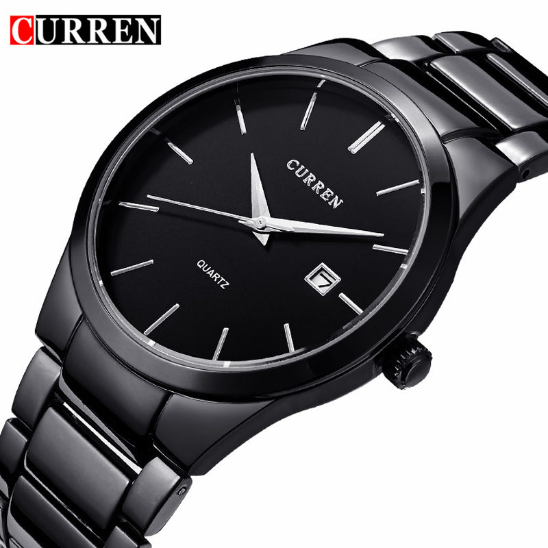 CURREN Watches Mens Brand Luxury Stainless Steel Analog Quartz Watch Men Casual Sport Clock Male Black Wristwatch Montre Homme mens watch top luxury brand fashion hollow clock male casual sport wristwatch men pirate skull style quartz watch reloj homber