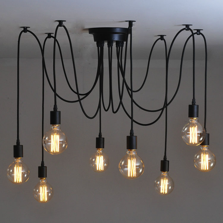 Spider Lamp DIY top sucking ceilingchandelier Spider Lamp Ajustable Edison G80 Pendant lights Industrial Lampshade Dining Lamp велосипед kellys spider 50 2017