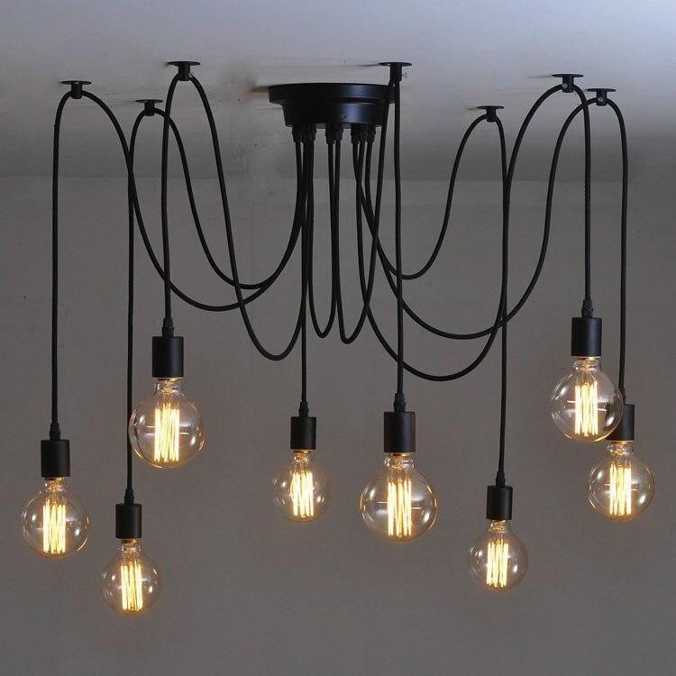 Spinne Lampe DIY top saugen ceilingchandelier Spinne Lampe Ajustable Edison G80 pendelleuchten Industrielle Lampenschirm Esszimmer Lampe