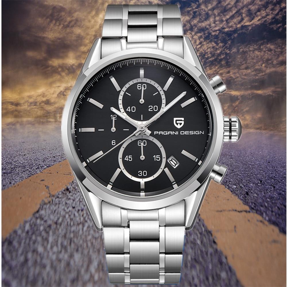 PAGANI DESIGN Luxury Brand Chronograph Leather Watches Men Sports Waterproof Quartz Military Watch Clock Men Relogio Masculino