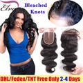 7a brasileño lace closure onda del cuerpo pelo de la virgen lace closure nudos blanqueados, encierro del pelo humano, gratuito oriente 3 parte cierres encaje