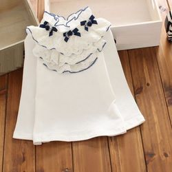 Коллекция 2018 года, весенне-осенние белые кружевные топы с длинными рукавами для больших девочек, школьная блузка для девочек, рубашка для де...