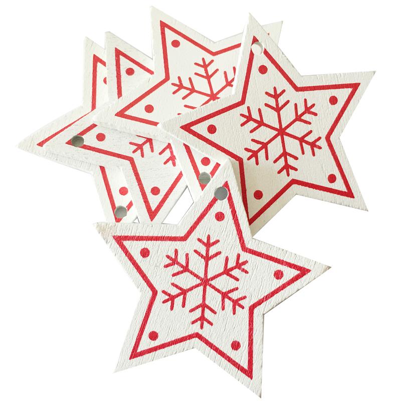 New Year 2020 Christmas Snowflake Wooden Pendant Xmas Tree Decorations for Home Wood Hanging Crafts Navidad 2019 Noel Natal Deco 29