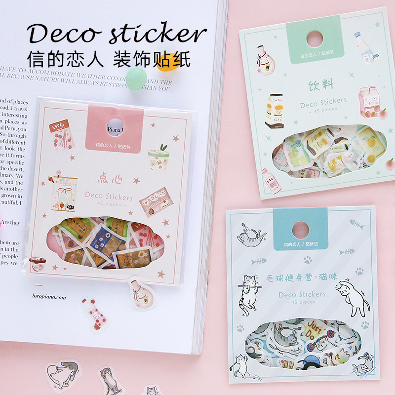 45pcs/pack Kawaii Paper Stationery Sticker Set Cute Animal Scrapbooking Diary Album Diy Craft Planner Decorative Label Sticker