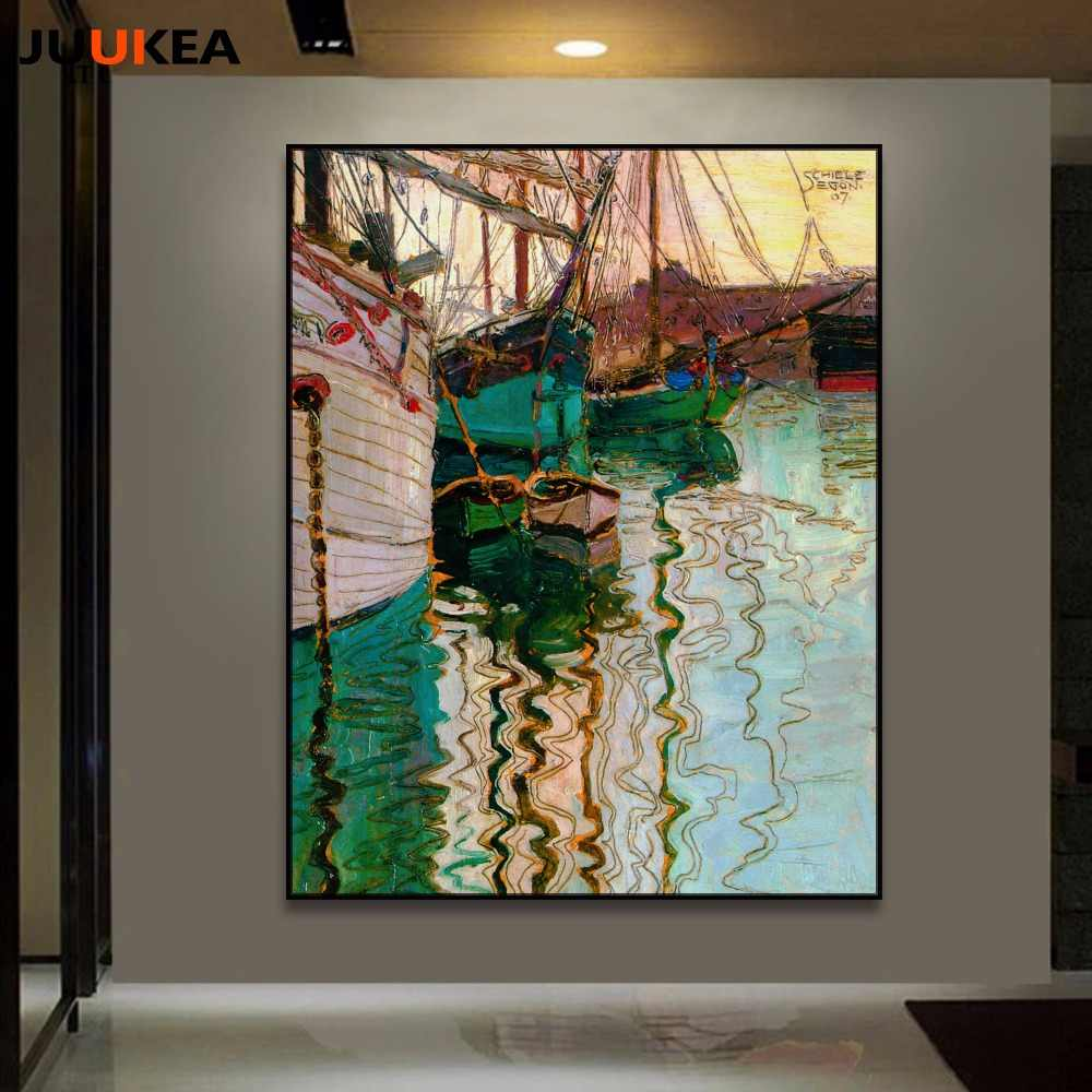 Abstract Art Prints On Canvas Modern Classic Abstract Art Egon Schiele Dusk Ship Oil Painting Prints On Canvas Poster Wall Picture Home Decor Living Room