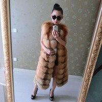 2015 quality eldest luxurious fox fur vest full leather natural silver fox fur red fox sleeveless vest longer section