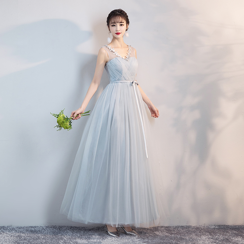 Blue Grey Colour Bridesmaids Dresses For Women  Wedding Dress Party  Ladies Long Gowns  V-neck Dress