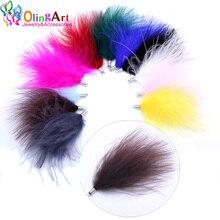 OlingArt, натуральные перья индейки, 10 шт./лот, 80 мм, смешанные цвета, женское ожерелье, серьги, кисточки, сделай сам, ювелирные изделия, тонкие подвески