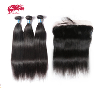 Натуральные волосы перуанские волосы с закрытием кружева прямые человеческие волосы Ali queen Hair Связки с фронтальным натуральным черным цвет