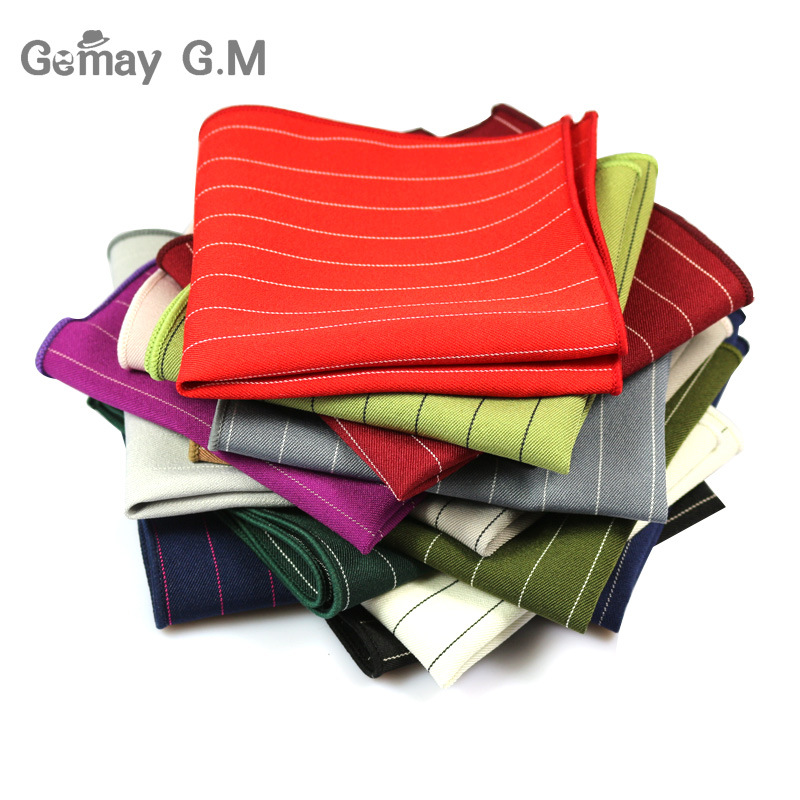 New Men's Striped Suit Shirt Pocket Towel Towel Candy Color Accessories Chest Towel Handkerchief 15 Color