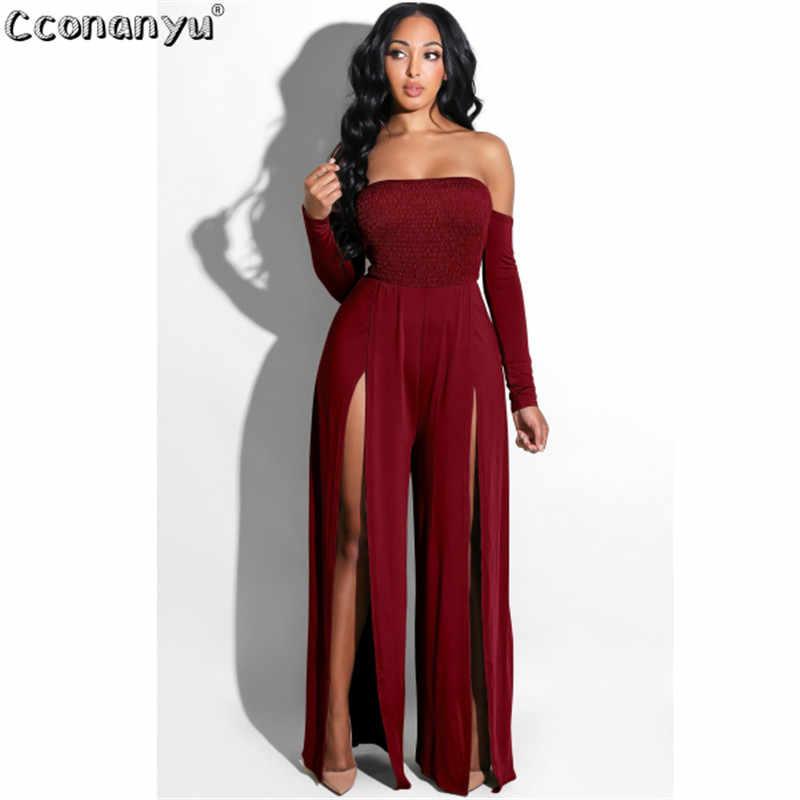 2019 Для женщин модные однотонные Цвет женские комбинезоны вечерние клубный комбинезон ноги сторона Сплит одно плечо Длинные Комбинезоны