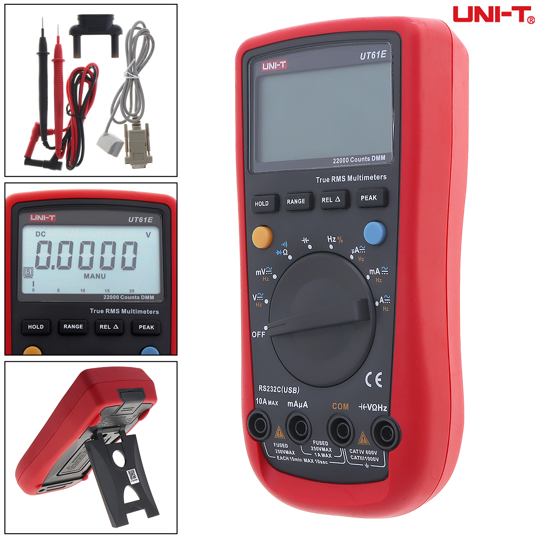 UT61E LCD Display 22000 Counts Handheld Digital Multimeter with Backlight and Adapter Socket Support Data Retention and Peak lcd digital compact pen type multimeter dmm lcd backlight display with english manual