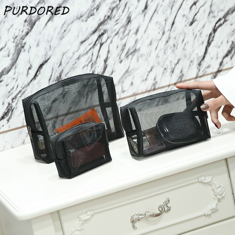 PURDORED 1 Pc Black Mesh Cosmetic Bag Zipper Makeup Bag For Women Wash Toiletry Bag Neceser Maquillaje Dropshipping