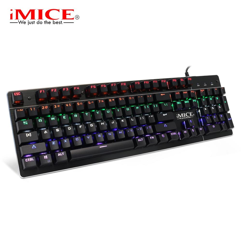 IMice Mechanische Tastatur Blau Schalter Gaming Tastatur mit Hintergrundbeleuchtung 104 Keys Verdrahtet Backlit Gamer Tastaturen für Computer Spiel