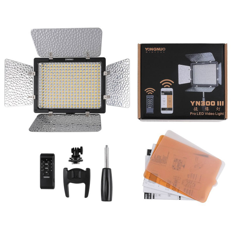 New Yongnuo YN300 III YN-300 lIl 3200k-5500K CRI95 Camera Photo LED Video Light with AC Power Adapter