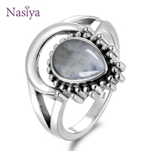 New Vintage 925 Silver Jewelry Finger Rings For Men Women 7x9MM Water Drop Natural Moonstones Weeding Anniversary Party Gifts vintage finger rings for men women oval 11x17mm big stones 925 silver jewelry ring party weeding anniversary engagement gifts