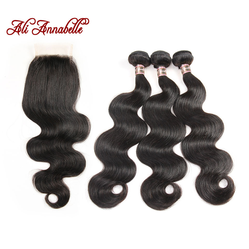 HTB1t93Qf2JNTKJjSspoq6A6mpXay ALI ANNABELLE HAIR Brazilian Body Wave Remy Human Hair Bundles With Closure Brazilian Human Hair Weave Bundles with Closure