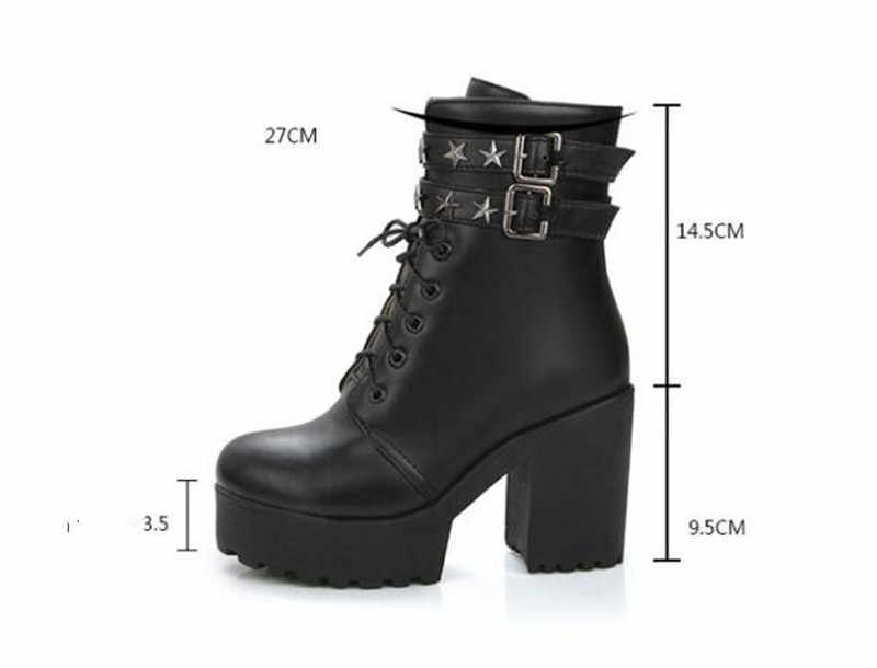 1969bc17d9b47 ... PXELENA Buckle Rivet Ankle Boots Women Thick Platform Chunky Block High  Heels Boots Ladies Shoes Punk ...