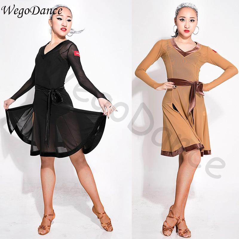 Danse latine robe manches longues slim coton salsa costume femme livraison gratuite avec sous-pantalon