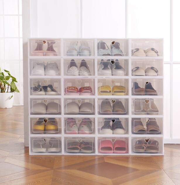 Image 2 - 6pc Stackable Simple Style Clear Plastic Shoe Box Home Storage Boxes Office Organiser Drawer-in Storage Boxes & Bins from Home & Garden