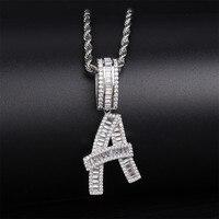 Lucky Sonny Letter Pendant Necklace Silver Color Initial Charm Hip Hop Bling Letter Necklace Kolye Alphabet Men Party Jewelry