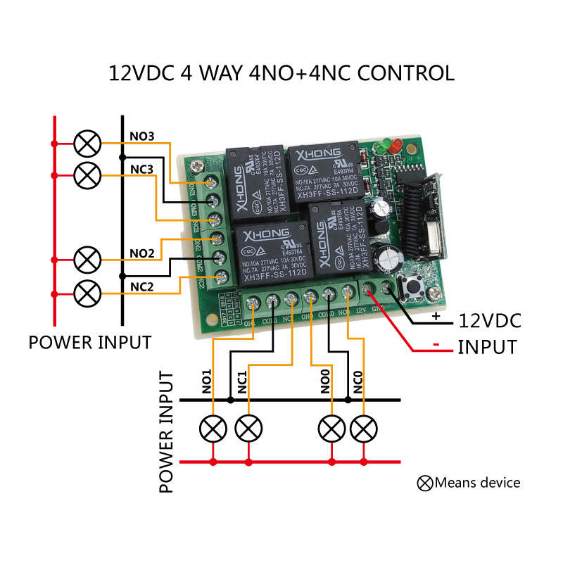 12VDC Wireless remote control switch 4 Way 433MHZ relay receiver module RF 4NO+4NC controller