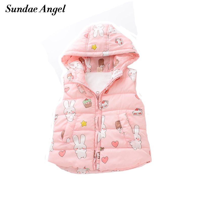 Sundae Angel Vest for girls Hooded Thicked Velvet Waistcoats Warm Girl vests Outerwear Cots Print Rabbit Pattern Clothes 3-8YSundae Angel Vest for girls Hooded Thicked Velvet Waistcoats Warm Girl vests Outerwear Cots Print Rabbit Pattern Clothes 3-8Y