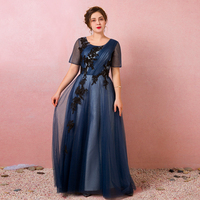 Elegant Navy Pleats Lace Up Vestidos De Festa Beading Short Sleeve Mother Of The Bride Dresses Plus Size Prom Party Gowns