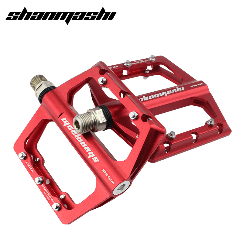 все цены на SMS Bicycle Pedals 4 Bearings Wide Non-slip Aviation Aluminum Alloy Bike Pedal Ultra-thin Design MTB Pedal With Shackles онлайн