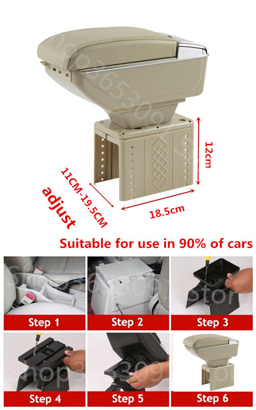 For Renault Clio Megane Captur Scenic Laguna Twingo Fluence Koleos Armrest box central Store content box with cup holder ashtray universal leather car armrest central store content storage box with cup holder center console armrests free shipping